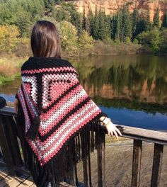 Handmade Triangle Shawl with Hood and Fringing by MariARTStore