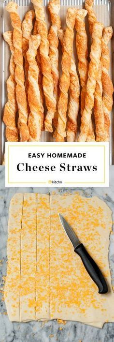 Easy Homemade Cheese Straws Recipe. Make these delicious small bites or appetizers for your new year's eve party! Or if you're looking for ideas and recipes for Thanksgiving, new years eve or Christmas parties. Entertaining for the holidays is simple with crowd pleasers like this for your party. Made with cheese and puff pastry and delicious served hot or cold. Kids and adults love them.