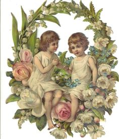 Large Victorian Die Cut Scrap Children in Floral Wreath