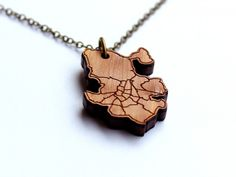 Map Necklaces from Neighborwoods | Mini neighborhoods carved into 1/8th thick cedar | Seattle, Los Angeles, DC, etc.
