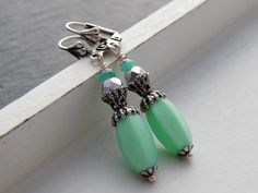 Ohrringe -Vintage Silber und Mint von Perlenfontäne auf DaWanda.com