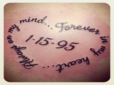 Memorial+Wrist+Tattoos+for+Son | Memorial Heart Shaped Dad Tattoo with Date