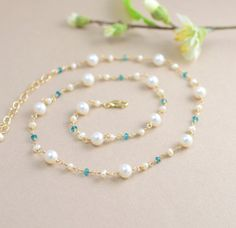 Pearl Necklace with Blue Gems in Gold Fill, Rosary style, handcrafted jewelry by BlueRoomGems, $89.00