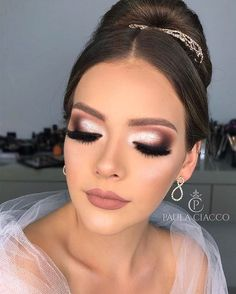 beautiful neutral makeup ideas for the prom party page 36 schöne neutrale Make-up-Id Wedding Eye Makeup, Bridal Hair And Makeup, Bride Makeup, Prom Makeup, Wedding Hair And Makeup, Bridal Smokey Eye Makeup, Makeup Trends, Makeup Ideas, Makeup Inspiration