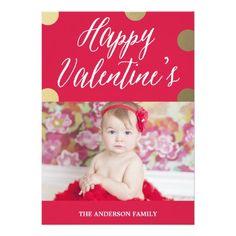 Polka Dot Gold | Valentine's Day Photo Card Custom Announcements