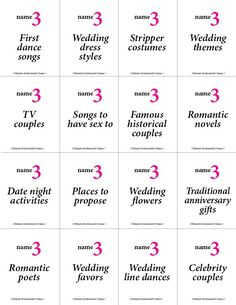 This printable bachelorette game is based on the board game Five Second Rule, so if you've ever played, you already know the basics. Each card asks you to name 3 of something. Bachlorette Party, Bachelorette Party Games, Spinster Party, Algebra Humor, Wedding Underwear, Bridal Shower Games, Bridal Showers, Romantic Couples, Wedding Humor