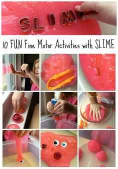 These super fun slime ideas from LalyMom make awesome fine motor activities for preschoolers, kindergarteners, and school-aged kids! Help your child or student reach important fine motor milestones like pinch strength and more with these easy and creative activities. These are perfect for OT! Fine Motor Activities For Kids, Motor Skills Activities, Gross Motor Skills, Sensory Activities, Learning Activities, Preschool Activities, Sensory Play, Sensory Table, Teaching Resources