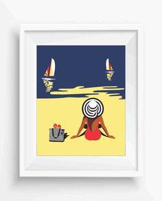 Woman on the beach,looking at sea,Summer ,Beach Home Decor,Digital Prints,Beach Art Printable ,instant download,Jpeg,