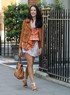 Clutch and Carry on - orange print topshop dress, bershka brown suede jacket - ootd - uk fashion blogger