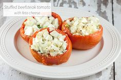 Quick, easy and cheap side dish. This stuffed beefsteak tomato with feta cheese is ready in about 25 minutes and goes well with any kind of fish.