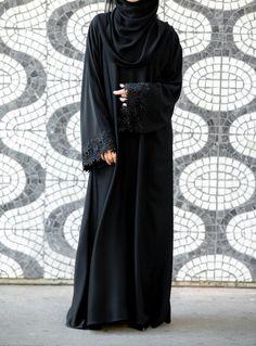 Talbiyah Abaya | Shamswear.com lovely 4 Modern Abaya, Modern Hijab Fashion, Abaya Fashion, Muslim Fashion, Abaya Designs, Burqa Designs, Abaya Pattern, Bohemian Summer Dresses, Black Abaya