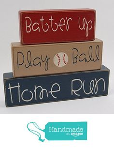 Batter Up-Play Ball-Home Run - Primitive Country Wood Stacking Sign Blocks Baseball Collection Boys Sports Room Decor Nursery Room-Birthday-Baby Shower Decor