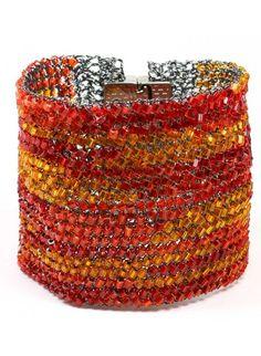 Bracelete em Onix e cristais de Vidro