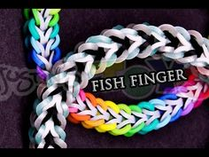 Rainbow Loom or Monster Tail - FISH FINGER Bracelet (Hybrid Theory). Designed by Sarah @sarahcwj. Tutorial and looming by Rob at Justin's Toys. Click photo for YouTube tutorial. 11/03/14. See @blueskydesigns for a similar design