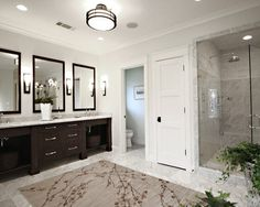 Traditional Bathroom Dark Wood Bathroom Design, Pictures, Remodel, Decor and Ideas - page 2 Large Bathrooms, Grey Bathrooms, Bathroom Renos, Bathroom Flooring, Beautiful Bathrooms, Bathroom Interior, Bathroom Ideas, Bathroom Designs, Bathroom Layout