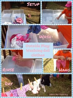 Outside Play: Washing doll clothes - Teach Me Mommy