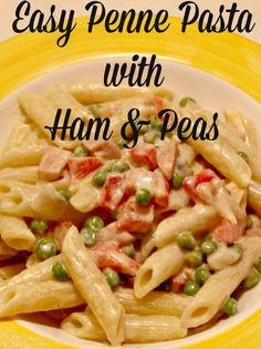 """This is a great way to use leftovers in the fridge – easy penne pasta with ham and peas! It's the first week of January and I like to do what we call """"eating out of the fridge&#…"""