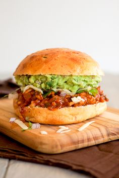 Tex Mex Sloppy Joes with guacamole