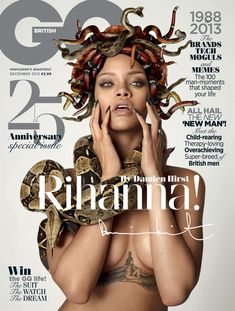 Rihanna poses naked with snakes in Damien Hirst 'GQ' shoot
