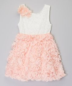 Loving this Ivory & Pink Rosette Pearl Dress - Infant & Toddler on #zulily! #zulilyfinds