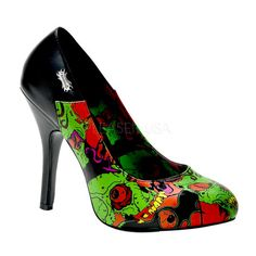Iron Fist/demonia Horror BLACK ZOMBIE HEELS SHOES/GREEN heel