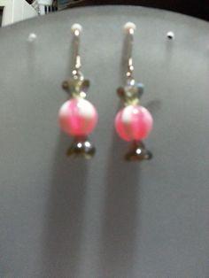 PinkandWhiteStripe Candy Earrings by Kayhynn on Etsy, $5.00