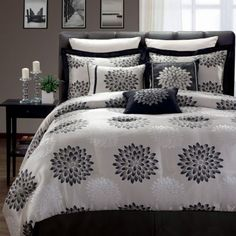 Master Bedroom Decorating Ideas - Eclips Luxury Black and White Comforter Set