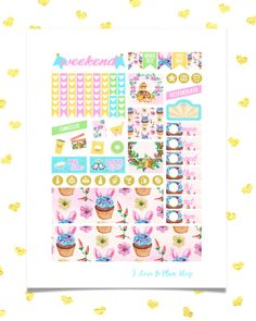 EASTER Cupcake Printable Planner Stickers for use with Erin Condren Life Planner.