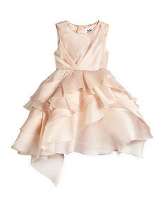 Tara Silk Tiered Cocktail Dress, Blush, by Milly Minis