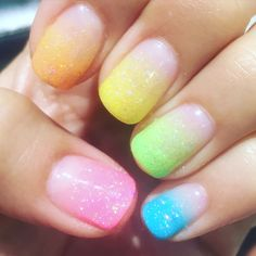 Summer time rainbow nails! #summer #nails #rainbow