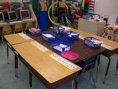 We aren't allowed to use tables instead of desks - but putting a table in between desks would allow collaboration/material sharing - while still giving each student their own work space.  Neat idea if you have the floor space.