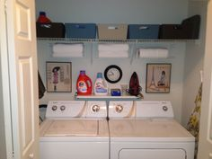 Apartment laundry room organization. I like the little shelf and the bins on top(use for storage)