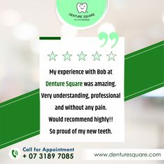 Here's what our clients have to say about our services at Denture Square Brisbane! Less Pain. Affordable costs. Great Customer Services. #clientreview #review #happyclient #clientreviews #feedback #happycustomer #customersatisfaction #customerservice #customerfeedback #clientlove #customerreview #testimonial #customerappreciation #reviews #customerexperience #clientsatisfaction #dentures #dentistry #dentist #completedentures #teeth #dental #denturesmile #denturesquare #denturesquarebrisbane Customer Experience, Customer Service, Dental Technician, Dental Group, Customer Appreciation, Proud Of Me, Dentistry, Brisbane, Clinic
