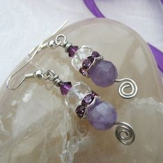 Earrings - Amethyst with Clear Quartz £6.95
