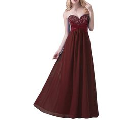 Kivary Women's Long A Line Sweetheart Beaded Sequins Ladies Formal Chiffon Prom Evening Dresses Burgundy US 20W. Fabric is chiffon, Back is half lace up + half zipper, Elegant A line skirt with sweetheart neckline, Shiny silver beads and sequins with pleats, Floor length skirt. This is a custom made dress even if standard size. Please find a soft tape to measure yourself and check size chart, keep tape loose, otherwise will be too tight or large for you. For custom made size, please…
