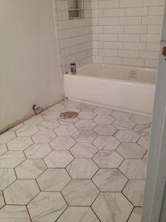 Merola Tile Eterno Carrara Hex in. Porcelain Floor and Wall Tile sq. / - The Home Depot Zen Bathroom, Bathroom Floor Tiles, Budget Bathroom, Small Bathroom, Tile Floor, Wall Tile, Bathroom Ideas, Hexagon Floor Tile, Master Bathroom