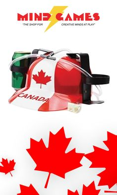 With this helmet you can stay refreshed while playing your favourite games, barbecuing dinner, roasting marshmallow, and so much more. The Canada Flag Beer Helmet keeps you in the action without spilling a drop of your drink. Just fill it up with your choice of beverage and your set. The helmet also works with pop, juice, and any other canned drinks you can think of.  The Canada Flag Beer Helmet comes with two can holders and a forked straw. With a small clamp on the main tube of the straw…
