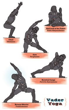 Yoga performed by Star Wars characters.