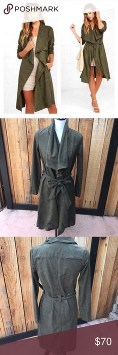 """Lulus Olive Green Trench Coat🎉 30% OFF ANY BUNDLE Description• olive green Suede trench coat. Belt around the waist no buttons in the front. New with tags   Measurements• APPROX Total length 39"""" Bust 16.5""""  Material• Suede?   Bundle and save!   Hashtags / tags• #trenchcoat #olivegreen #lulus #olivegreentrenchcoat Lulu's Jackets & Coats Trench Coats"""