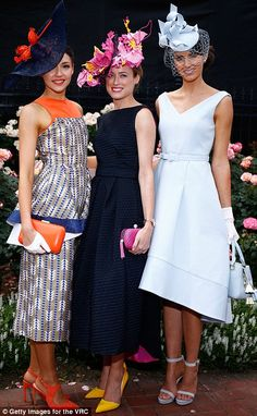 Emily Hunter (Centre, pink and yellow flower crown by Lisa Schaefer Millinery) has been named the winner of the Melbourne Cup's Myer FOTF summer outfits Race Day Outfits, Derby Outfits, Races Outfit, Horse Race Outfit, Kentucky Derby Fashion, Kentucky Derby Outfit, Race Day Fashion, Races Fashion, Gothic Fashion