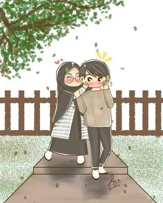 Drawing - - cute couple cartoon, love is cartoon, girl cartoon, glitter background Love Is Cartoon, Cute Couple Cartoon, Cute Couple Art, Cute Love Cartoons, Girl Cartoon, Cute Muslim Couples, Cute Anime Couples, Hijab Anime, Muslim Pictures