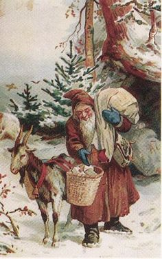 Father Christmas With the Yule Goat Best Christmas Toys, Christmas Poems, Christmas Animals, Father Christmas, Christmas Pictures, Victorian Christmas, Vintage Christmas Cards, Retro Christmas, Christmas Postcards