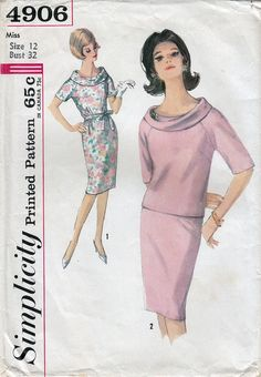 1960s Vintage One or Two-Piece Dress Sewing Pattern Simplicity 4906 Bust 32