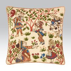 Calling all Wonderland fans, our 'Alice' cushion captures some of your favourite characters. Needlepoint Pillows, Needlepoint Kits, Adventures In Wonderland, Alice In Wonderland, John Tenniel, Tapestry Kits, Textiles Techniques, Victoria And Albert Museum, Design Museum
