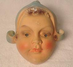 Dutch Maid Girl Chalkware String Holder Antique Vintage Chalk |