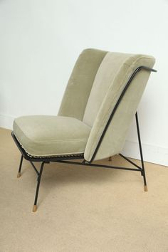 Augusto Bozzi; Painted Metal and Brass Chair for Saporiti, 1950s.