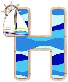 Alphabet Templates, Alphabet Print, Monogram Alphabet, H Letter Images, Alphabet Images, Nautical Letters, Nautical Background, 2nd Birthday Photos, Sailor Theme