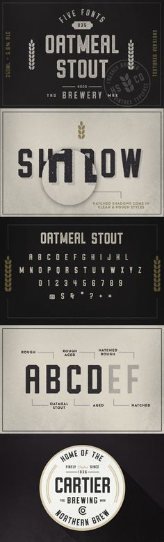 Oatmeal Stout is a Vintage Typeface with 5 Styles, available now on Creative Market!http://crtv.mk/yCv9