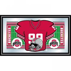 Trademark Global Ohio State University Football Framed Jersey Mirror - LRG1550F-OSU