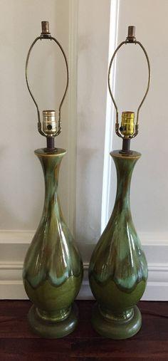 Pair of Mid Century Moder Avocado Drip Glaze Lamps by MiloMiloLLC on Etsy
